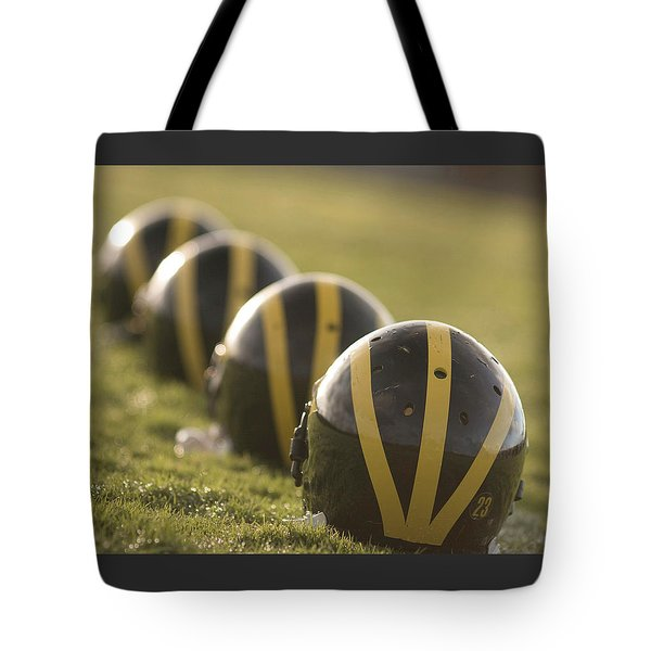 Striped Helmets On Yard Line Tote Bag