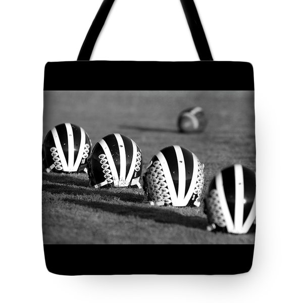 Striped Helmets With Football Tote Bag