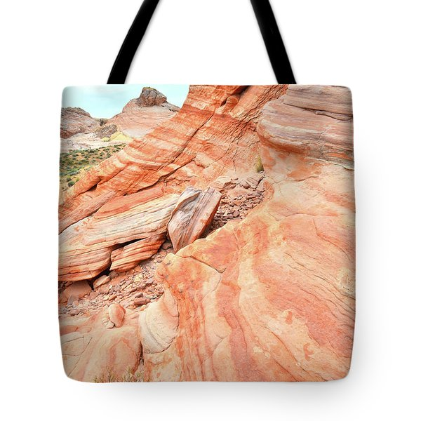 Tote Bag featuring the photograph Striped Sandstone Along Park Road In Valley Of Fire by Ray Mathis