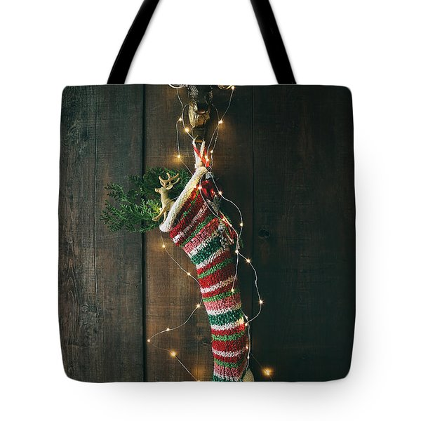 Striped Wool Stocking With Sparkling Lights Tote Bag