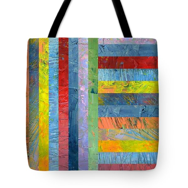 Stripes With Blue And Red Tote Bag by Michelle Calkins