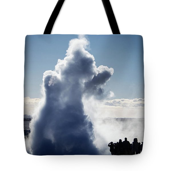 Tote Bag featuring the photograph Strokkur Geyser In Iceland by Matthias Hauser