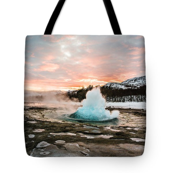 Strokkur Winter Blowup In Front Of Sunset Tote Bag