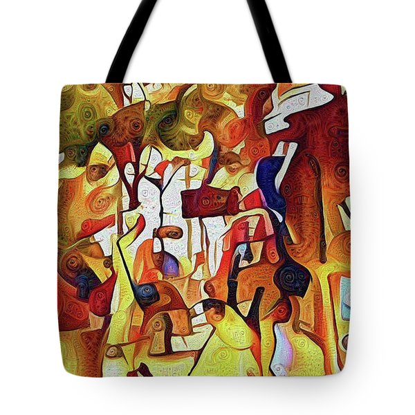 Strolling Along Peach Tree Street Tote Bag