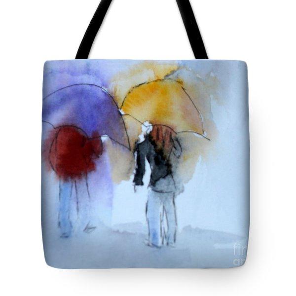 Strolling In The Rain Tote Bag by Vicki  Housel