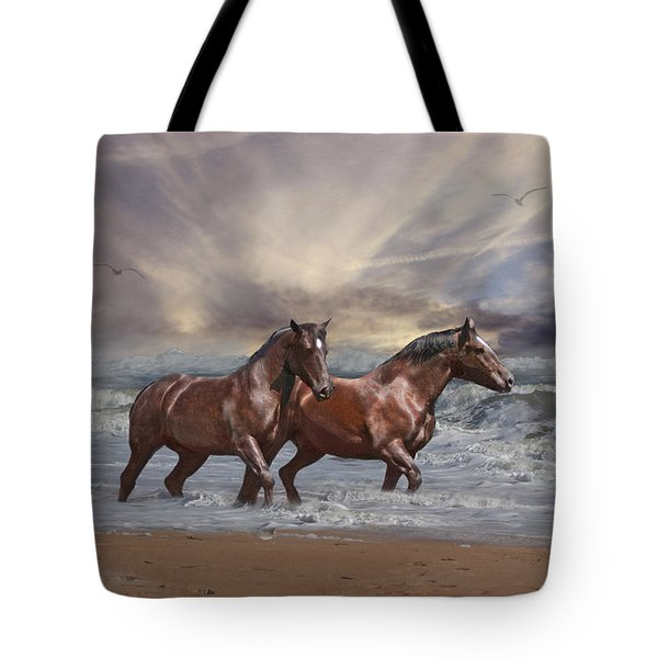Strolling On The Beach Tote Bag