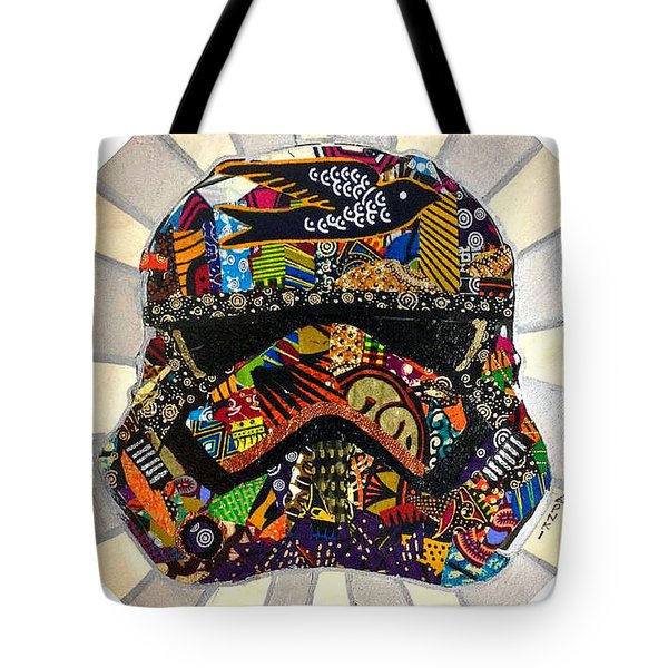 Tote Bag featuring the tapestry - textile Strom Trooper Afrofuturist  by Apanaki Temitayo M