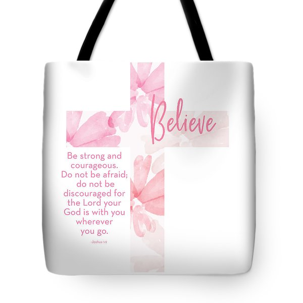 Strong And Courageous Cross- Art By Linda Woods Tote Bag