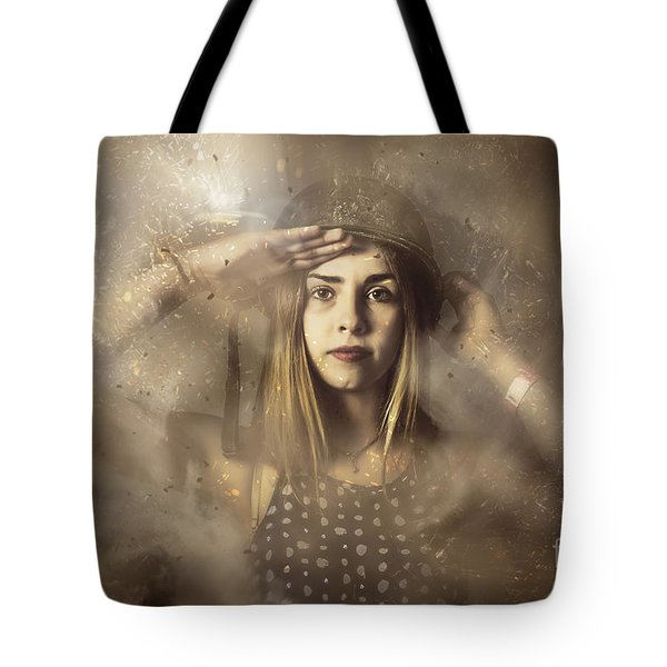 Strong Tough And Beautiful Pinup Soldier Girl  Tote Bag