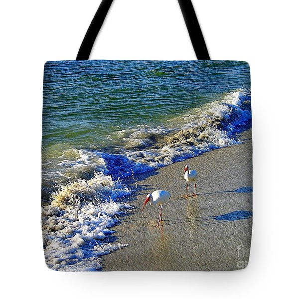 Strutting Shadows - White Ibis Strutting On The Beach Tote Bag