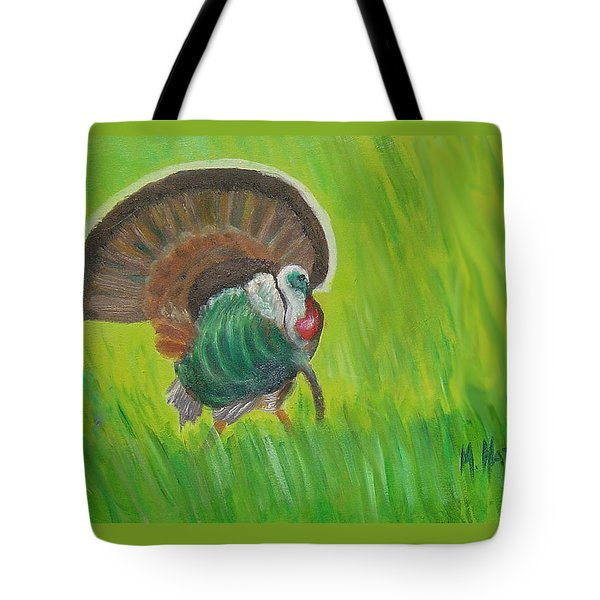 Strutting Turkey In The Grass Tote Bag