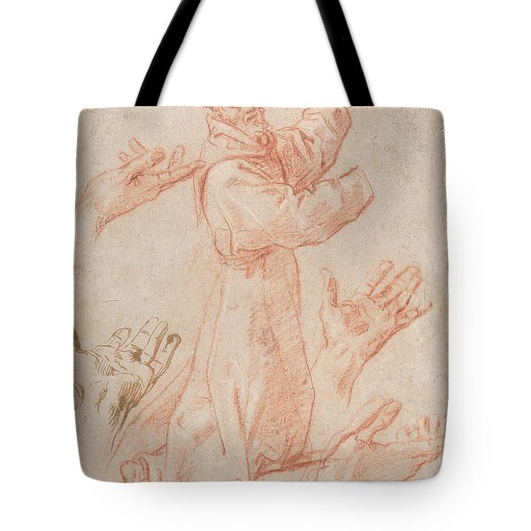 Studies For A Figure Of Saint Francis Kneeling In A Three-quarter View And For His Hands Tote Bag
