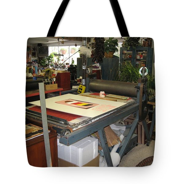 Tote Bag featuring the mixed media Studio by Erika Chamberlin