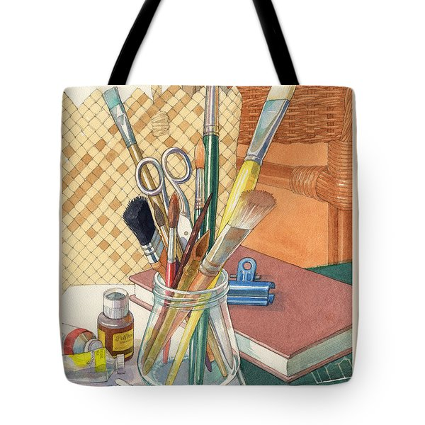 Tote Bag featuring the painting Studio by Judith Kunzle
