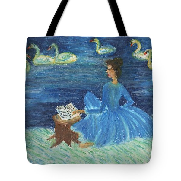 Study For Swan Lake Reader Tote Bag by Sushila Burgess
