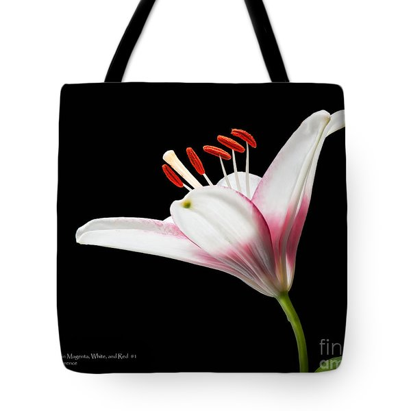 Tote Bag featuring the photograph Study Of A Lily In Magenta, White, And Red #2 By Flower Photographer David Perry Lawrence And Red #1 by David Perry Lawrence