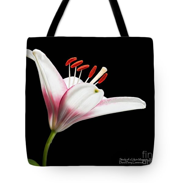 Tote Bag featuring the photograph Study Of A Lily In Magenta, White, And Red #2 By Flower Photographer David Perry Lawrence by David Perry Lawrence