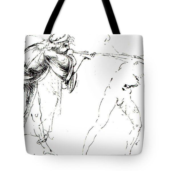 Study Of A Man Blowing A Trumpet In Another's Ear Tote Bag