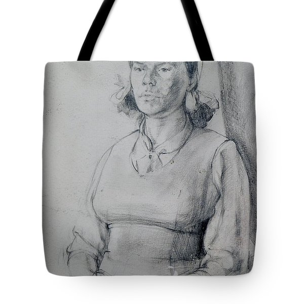 Study Of A Seated Girl. Tote Bag by Harry Robertson