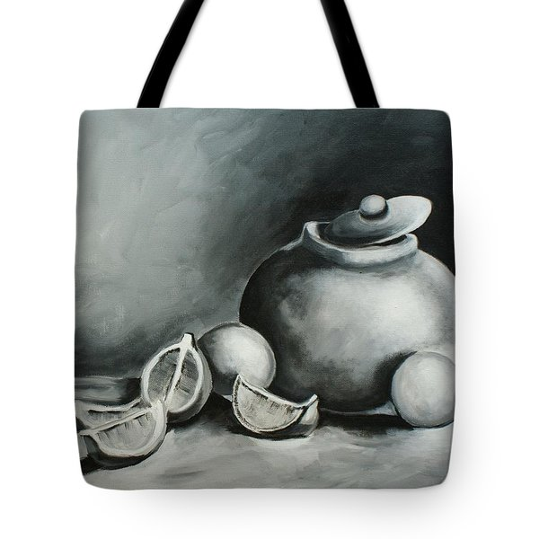 Study Of Lemons, Oranges And Covered Jug In Black And White Tote Bag