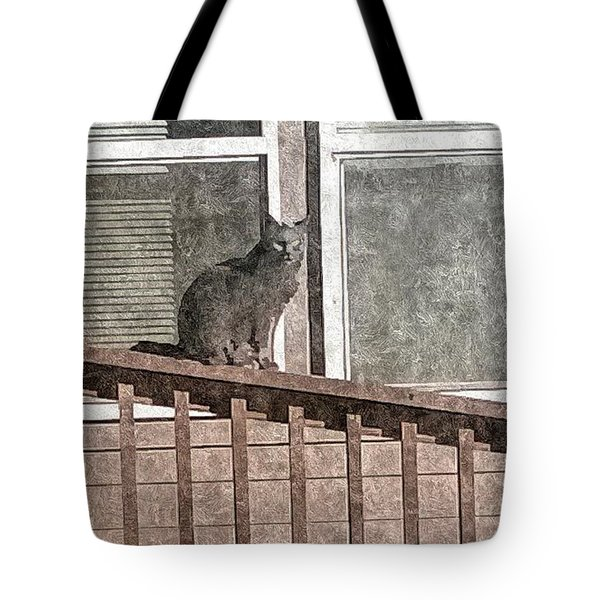 Study Of Lines With Cat Tote Bag by Karl Reid