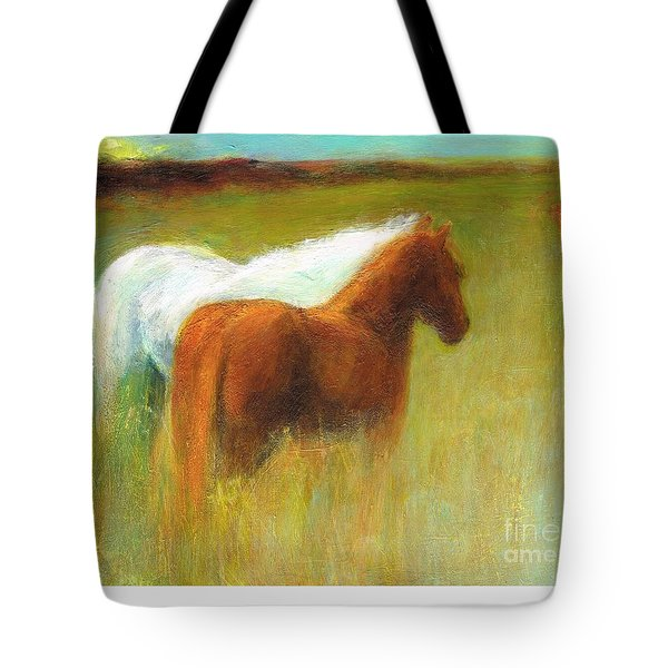 Study Of Two Ponies Tote Bag by Frances Marino
