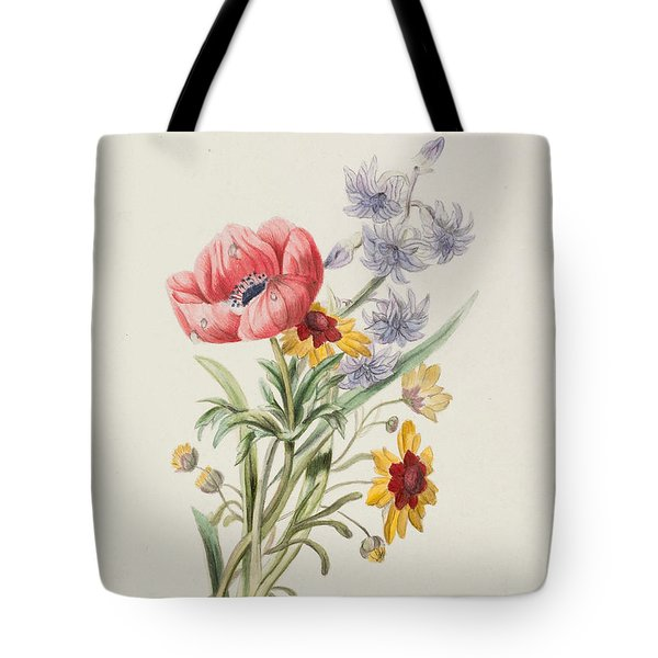 Study Of Wild Flowers Tote Bag by English School