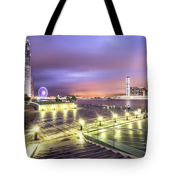 Stunning Night View Of The Famous Hong Kong Island Skyline And V Tote Bag
