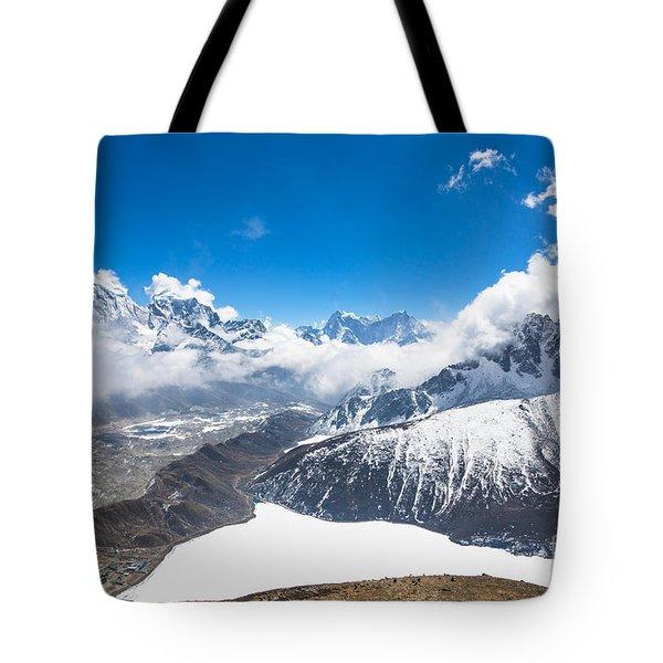 Stunning Panorama Over Gokyo In Nepal Tote Bag