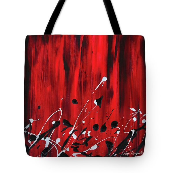 Stunning Red Abstract Original Painting By Megan Duncanson Madart Tote Bag