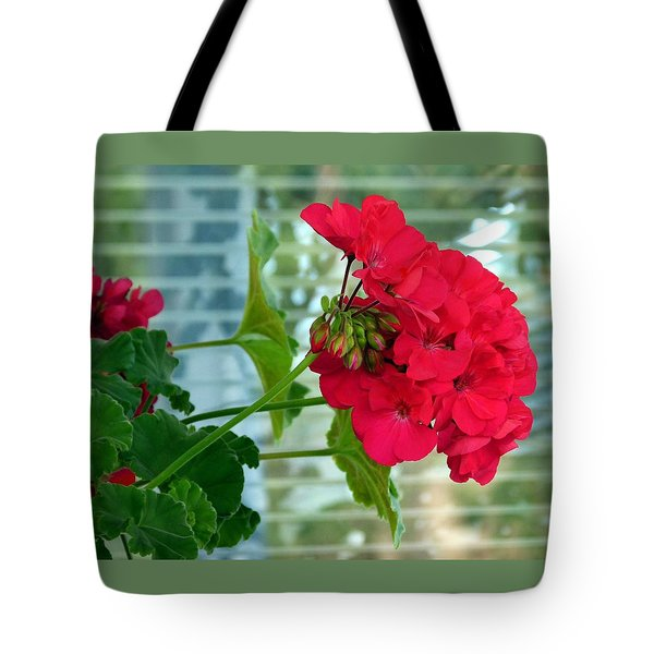 Stunning Red Geranium Tote Bag by Will Borden