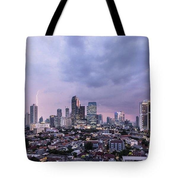 Stunning Sunset Over Jakarta, Indonesia Capital City Tote Bag