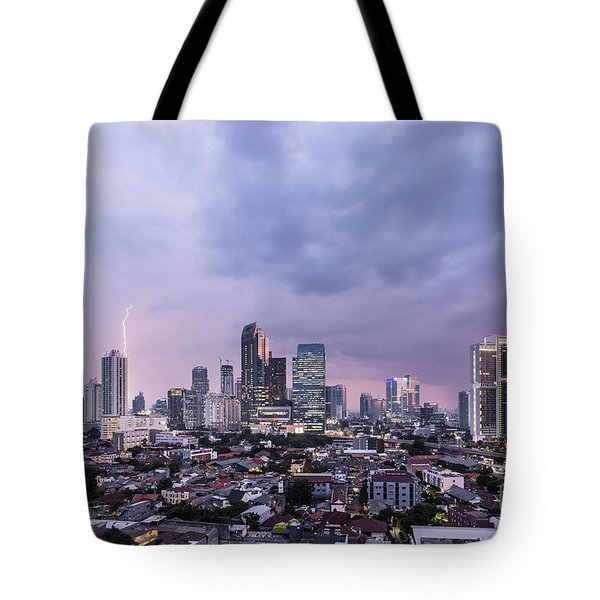 Stunning Sunset Over Jakarta, Indonesia Capital City Tote Bag