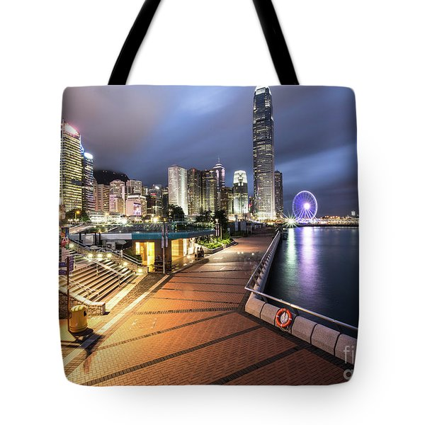 Stunning View Of Hong Kong Central Business District Skyscrapers Tote Bag