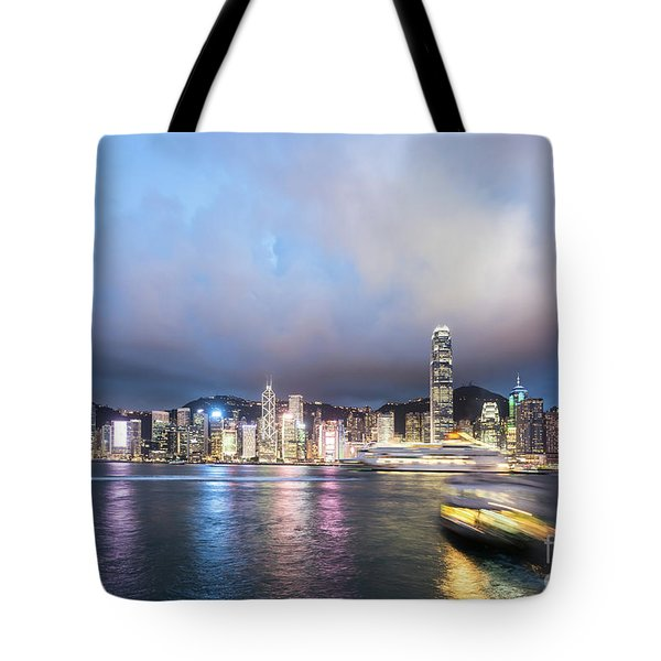 Stunning View Of Hong Kong Island At Night.  Tote Bag