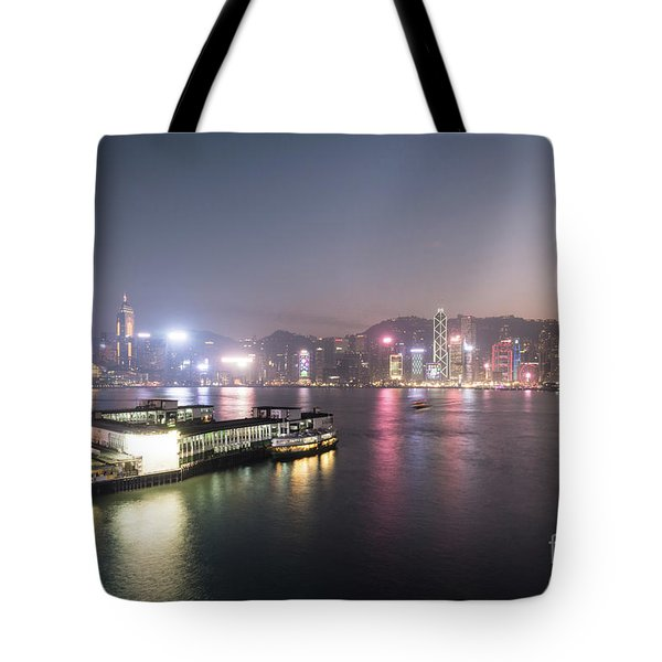 Stunning View Of The Twilight Over The Victoria Harbor And Star  Tote Bag