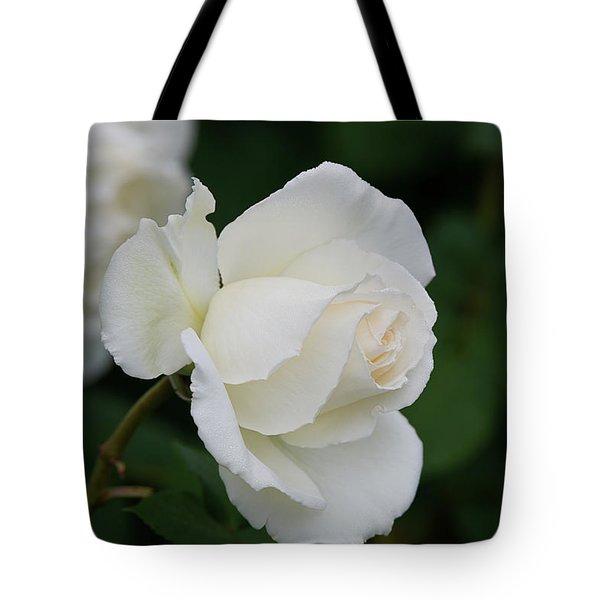 Stunning White Tineke Rose Tote Bag