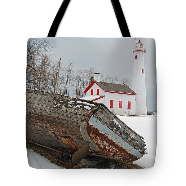 Sturgeon Point Lighthouse Tote Bag by Michael Peychich