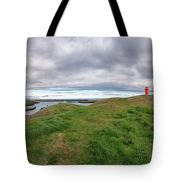 Tote Bag featuring the photograph Stykkisholmur Harbor Pano by Tom Singleton