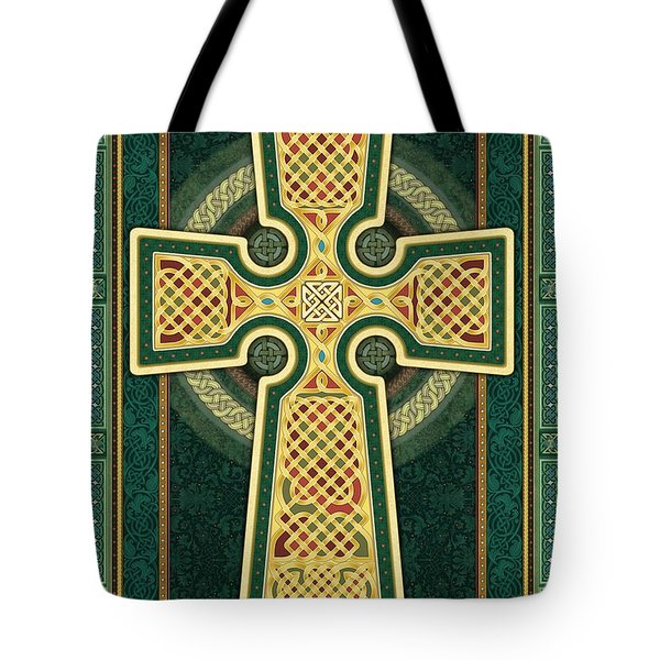 Stylized Celtic Cross In Green Tote Bag