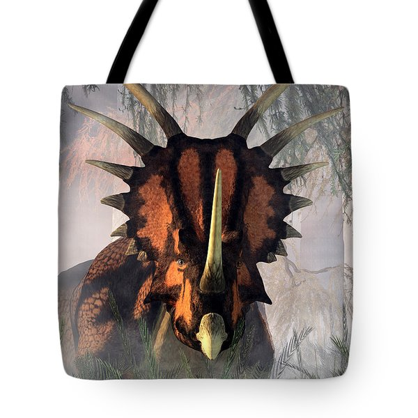 Styracosaurus In The Forest Tote Bag