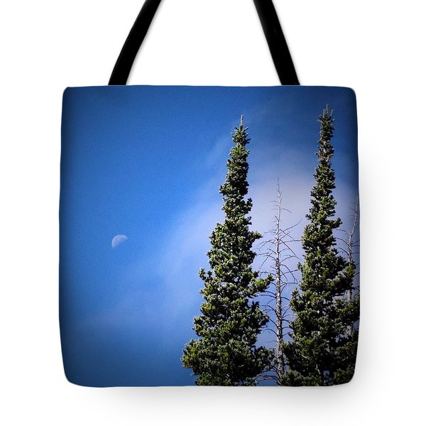 Tote Bag featuring the photograph Subalpine Fir With Moon by Deborah Moen