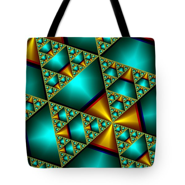 Tote Bag featuring the digital art Sublime Sierpinski Fractal by Manny Lorenzo