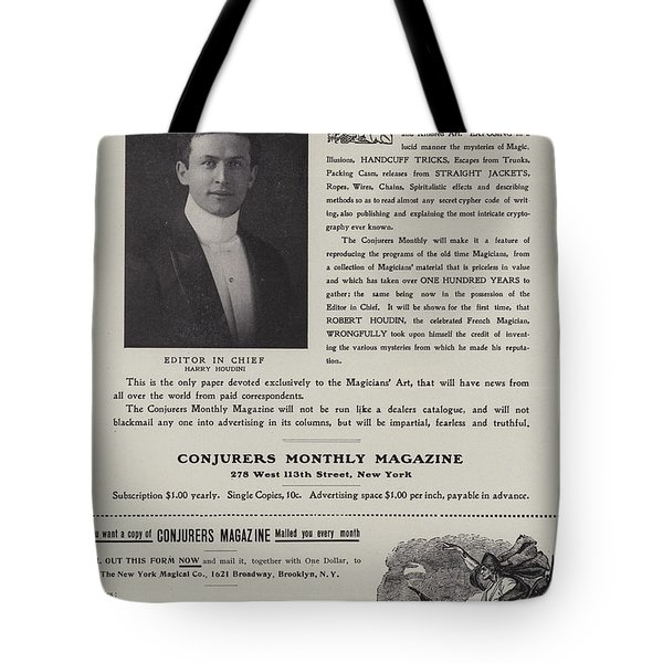 Subscription Form For Conjurers Monthly Magazine, Editor In Chief Harry Houdini, Circa 1906 Tote Bag