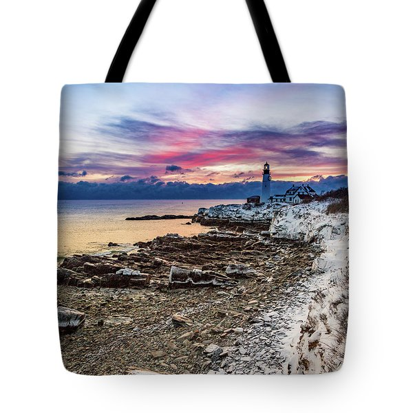 Subtle Sunrise At Portland Head Light Tote Bag