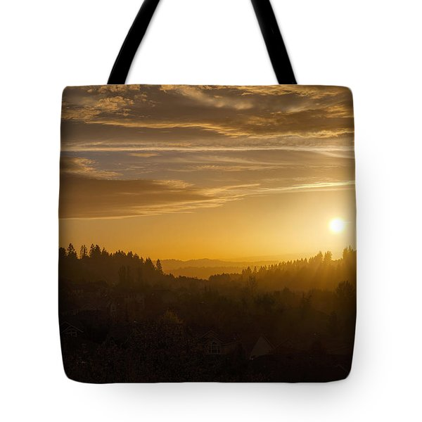 Suburban Golden Sunset Tote Bag by David Gn