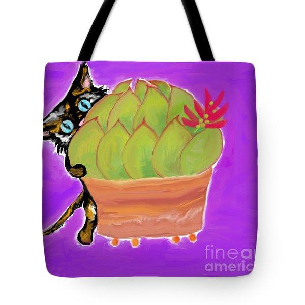 Succulent Calico Cat  Tote Bag