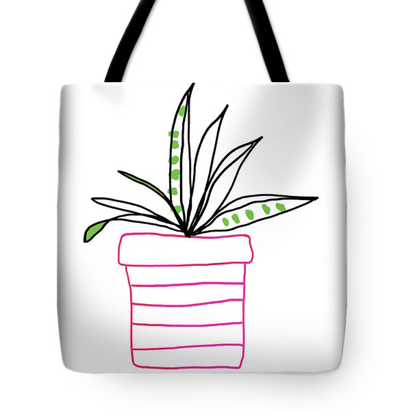 Tote Bag featuring the mixed media Succulent In A Pink Pot- Art By Linda Woods by Linda Woods