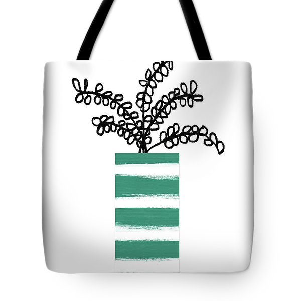 Tote Bag featuring the mixed media Succulent In Green Pot 1- Art By Linda Woods by Linda Woods