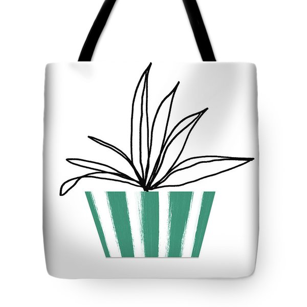 Tote Bag featuring the mixed media Succulent In Green Pot 3- Art By Linda Woods by Linda Woods